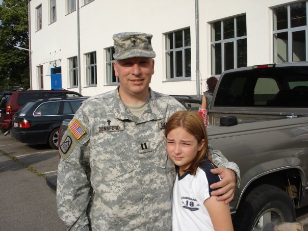 Me with Julia minutes before reporting for deployment. — with Julia.