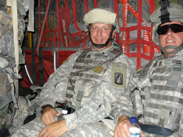 On the C-130 flying to Balad, Iraq.