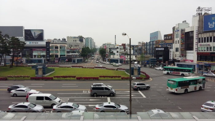 The view of Suwon from the exit of the train station.