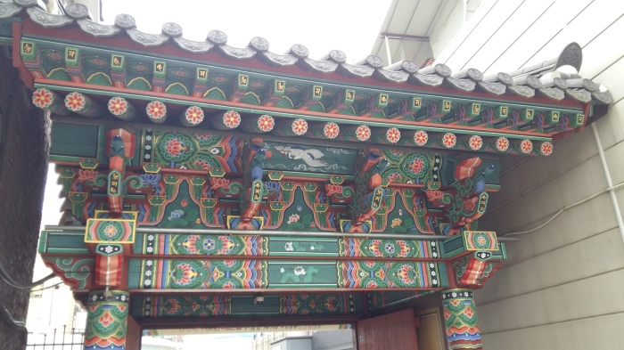 The other side of the entry arch showing more of the colorful and intricate architecture.