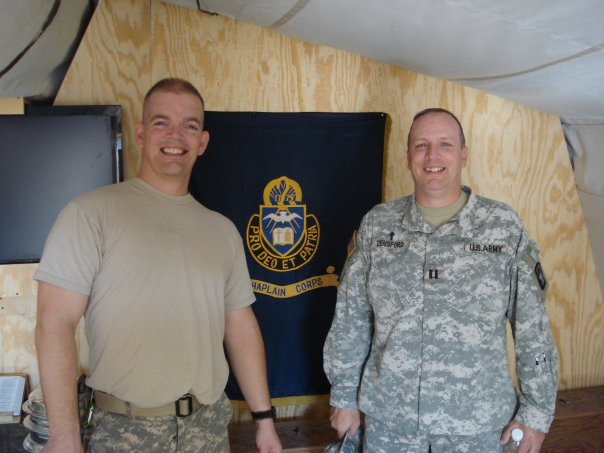 Me and a chaplain friend at Sparrowawk FARP, FOB Garyowen near Al `Amarah, Maysan, Iraq.