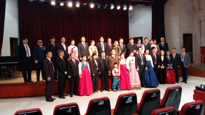 Before moving to the auditorium where the ordination service was held, the ordinands, their spouses (and some of their children) and the district and denominational leaders post for a picture. The District Secretary invited me to be in the picture, but that would have been too much!