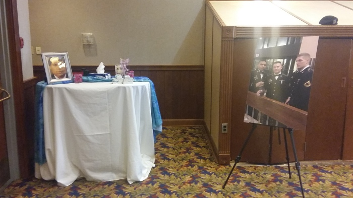 A small display was set up at the rear of the auditorium.