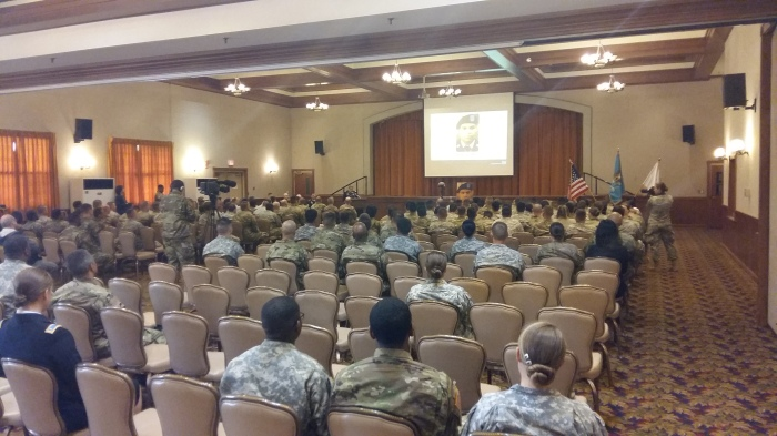 There was a good turnout from the unit as well as from sister units. There was also great support by chaplains and chaplain assistants from this post and others. At the podium is the battalion commander.